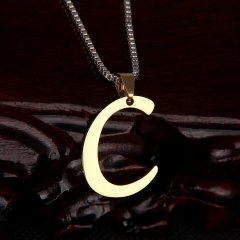 26 letter stainless steel number necklace C