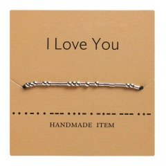 Morse code alphanumeric hand woven adjustable paper card bracelet I LOVE YOU