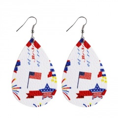 Drop shaped American flag leather earring with hook 3#