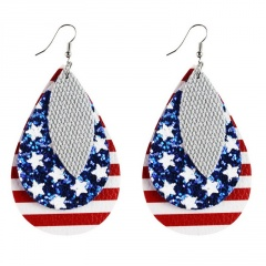 Drop shaped American flag leather earring with hook 4#