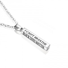 Silver Square Stainless Steel Pendant Chain Necklace Silver