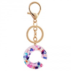 Lettering color acrylic translucent key chain C
