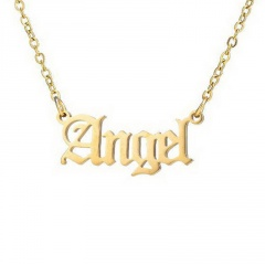 Retro English Letter Stainless Steel Angel Necklace Women Jewelry Couple Gift Necklace Baby Girl Princess Prince Honey Necklaces Angel-gold