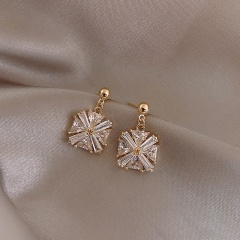 Trendy Retro 925 Sterling Silver Square Rhinestone Geometric Stud Earrings Square