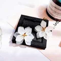 S925 Silver Needle Exaggerated Large Flower Stud Earrings Petal Color Earrings White