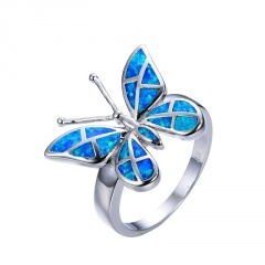 New Fashion Korean Colorful Wings Rings Vintage Animal Butterfly Finger Rings Blue