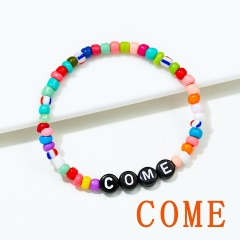 Letter words colorful rice beads Elastic Bracelet BR20Y0032-7