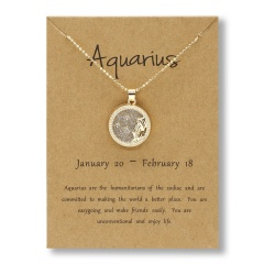 Fashion Gold Charm Necklace Daytime Twelve Constellation Paper Card Alloy Pendant Necklace Jewelry Aquarius