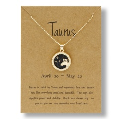 Fashion Gold Charm Necklace Day Night Twelve Constellation Paper Card Alloy Pendant Necklace Jewelry Taurus