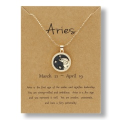 Fashion Gold Charm Necklace Day Night Twelve Constellation Paper Card Alloy Pendant Necklace Jewelry Aries