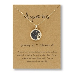 Fashion Gold Charm Necklace Day Night Twelve Constellation Paper Card Alloy Pendant Necklace Jewelry Aquarius