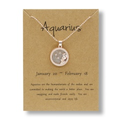 Fashion Rose Gold Charm Necklace Daytime Twelve Constellation Paper Card Alloy Pendant Necklace Jewelry Aquarius