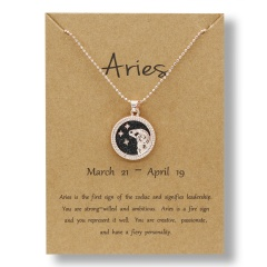 Fashion Rose Gold Charm Necklace Black Night Twelve Constellation Paper Card Alloy Necklace Aries