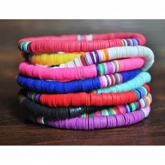 Bohemian Style Colorful Soft Clay Beach Elastic Bracelet colorful
