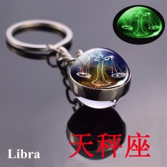 Zodiac luminous double-sided glass ball key chain Libra