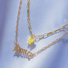 Butterfly Letter Acrylic Double Layer Chain Necklace Honey