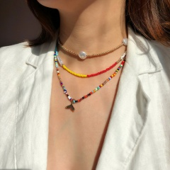 Fish Tail Pearl Colorful Beads Bohemian Elastic Necklace Set Necklace Set