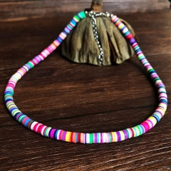 Fashion Soft Clay Beach Bohemian Elastic Necklace Jewelry colorful