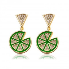 Lemon sliced stud earrings Green