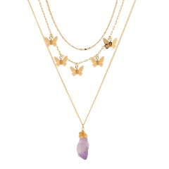 Green Water Drop Zircon Purple Natural Stone Butterfly Multilayer Chain Necklace Purple natural stone