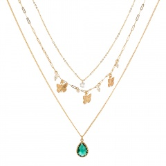 Green Drop Zircon Turquoise Pearl Butterfly Multilayer Necklace Turquoise