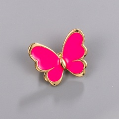 Little Butterfly Painting Oil Brooch Red