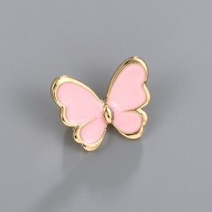 Little Butterfly Painting Oil Brooch Pink