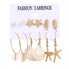 Starfish Shell Pearl Combination Earring 6Pairs/set