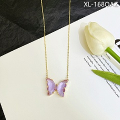 Transparent crystal butterfly necklace Purple