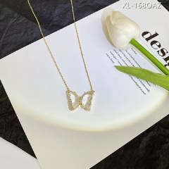 Crystal Butterfly Stud Ring Necklace White necklace