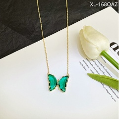 Transparent crystal butterfly necklace Green