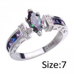 Shiny Heart Oval Zircon Wedding Female Bride Finger Rings Jewelry oval 7