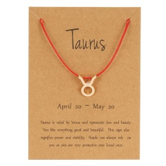 Red Rope Symbol Version Of The 12 Zodiac Braided Paper Card Bracelet Taurus