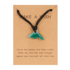 Jade dolphin pendant paper card necklace Green