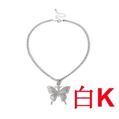Big butterfly pendant necklace set with diamond White