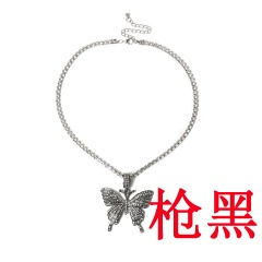 Big butterfly pendant necklace set with diamond Black