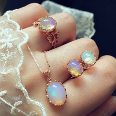 Color Jewel Ring Necklace Snake-Bone Chain Earrings 3 - Piece Set Necklace + earrings + ring
