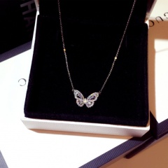 Smart Butterfly Zircon pendant necklace with clavicle chain White