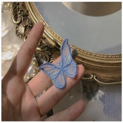 White Lace Butterfly Hair Pins Blue