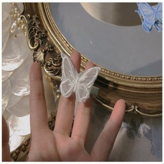 White Lace Butterfly Hair Pins White