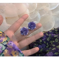Wholesale Purple Flower Stud Earrings Purple