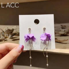 Wholesale Purple Flower Pearl Stud Swing Earrings 366