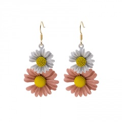 Double Daisy Petal Ear Hook Ear Nail Earrings White-Pink