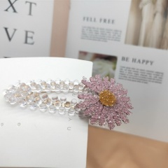 Small Daisy Crystal Flower Hairpin Light purple