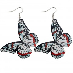 Imitation Butterfly Leather Alloy Ear Hook Earrings Style 1