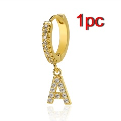Fashion Zirconia A-Z Letters Alphabet Gold Earrings Stud Dangle Hoop Women 1PC A