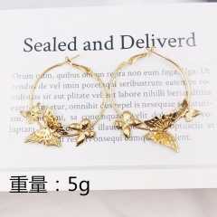 Statement Gold Silver Big Circle with Butterfly Ear Hook Earrings Gold