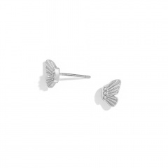 1 Pair Butterfly Series Alloy Stud Dangle Chain Earrings Silver-Stud