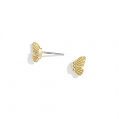 1 Pair Butterfly Series Alloy Stud Dangle Chain Earrings Gold-Stud