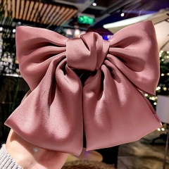 Ribbon Hairgrips Big Large Bow Hairpin Satin Hair Clip Barrette Hair Accessories Pink